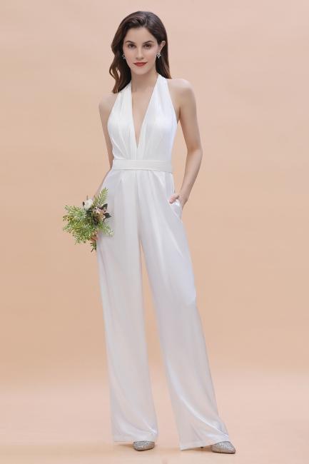 Jumpsuit Brautjungfernkleider Lang Weiß | Kleider Für Brautjungfern