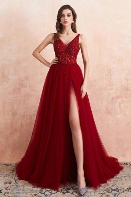 Abendkleider Lang Rot   Abiballkleid mit Glitzer