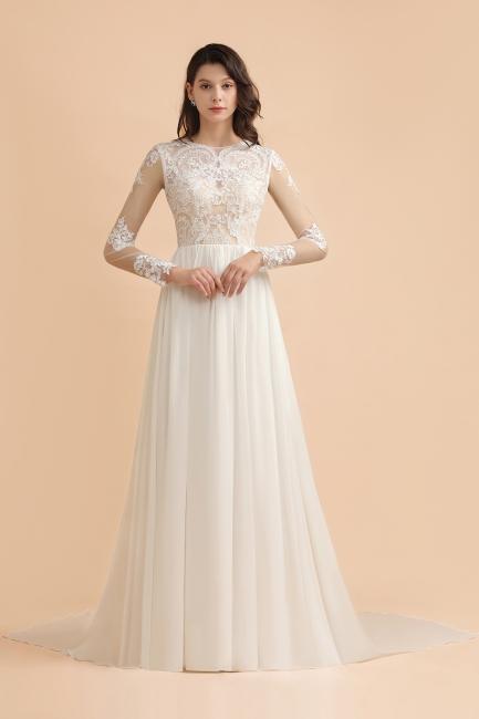 Schlichtes Brautkleid A Linie | Hochzeitskleider mit Ärmel