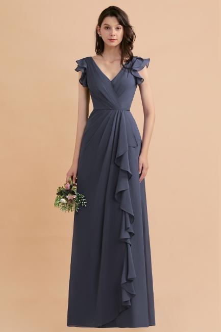 Grey Brautjungfernkleider Lang Günstig   Chiffon Kleider Online