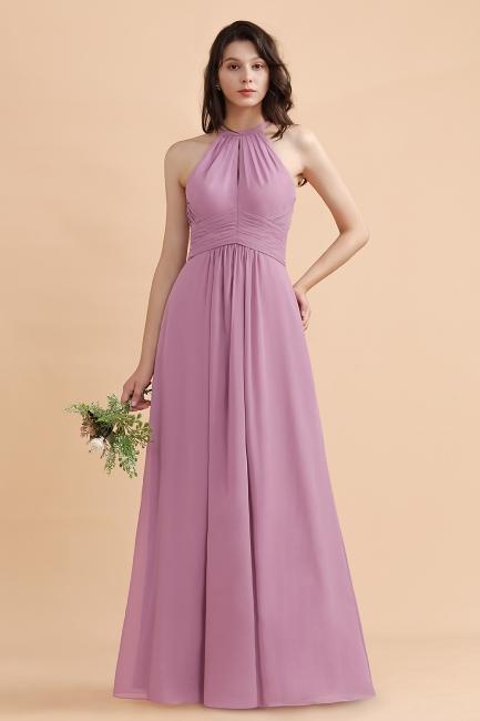 Brautjungfernkleider Lang Rosa | Chiffon Kleider Günstig