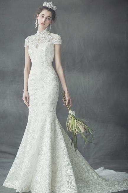 Günstige Hochzeitskleider Spitze | Hochzeitskleid Standesamt Meerjungfrau