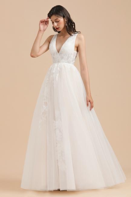 Designer Brautkleid V Ausschnitt | Hochzeitskleider A Linie