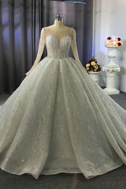 Designer Hochzeitskleider Prinzessin | Hochzeitskleid Lange Ärmel