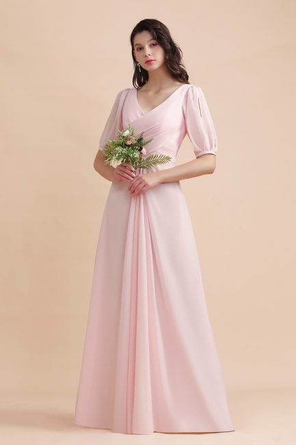 Brautjungfernkleider Rosa | Hochzeitspartykleider mit Ärmel