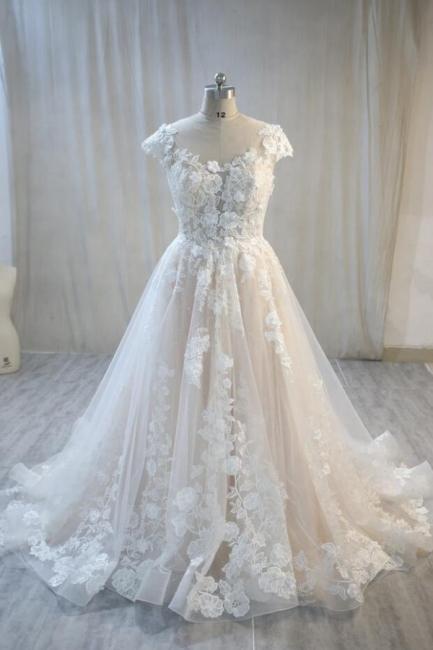 Hochzeitskleider Standesamt | Spitze Brautkleid A Linie