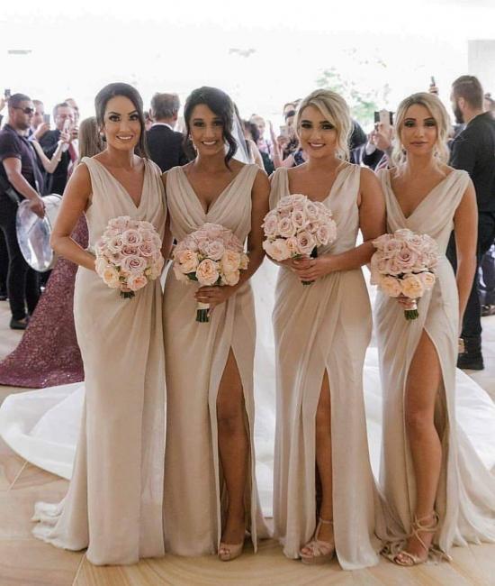 Elegante Brautjungfernkleider Lang Chiffon | Kleider für Brautjungfern