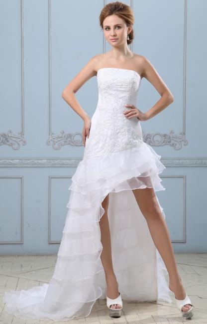 Sexy Weiß Hochzeitskleider Kurz Lang A Linie Spitze Brautkleider Hochzeitsmoden