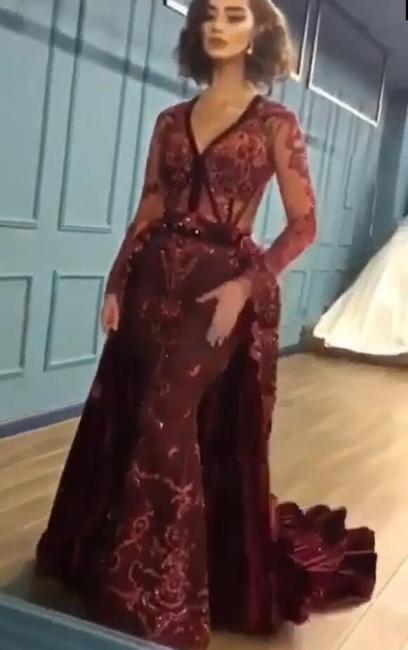 Burgundy Abendkleider mit Ärmel | Velvet Abendkleid Günstig Online