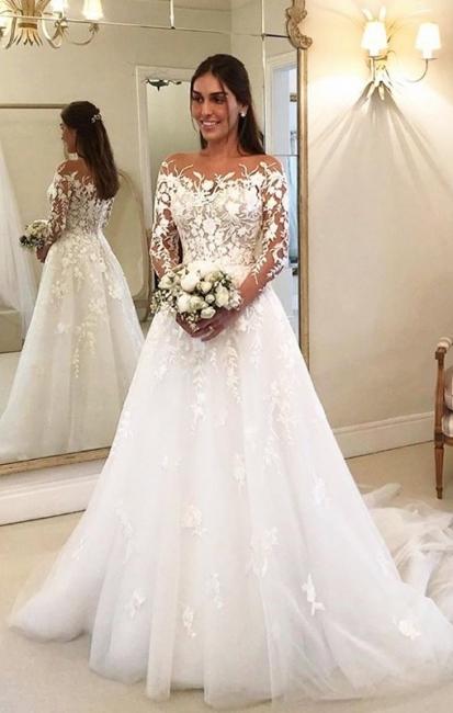 Elegante Hochzeitskleider Mit Spitze   Brautkleider Lange Ärmel