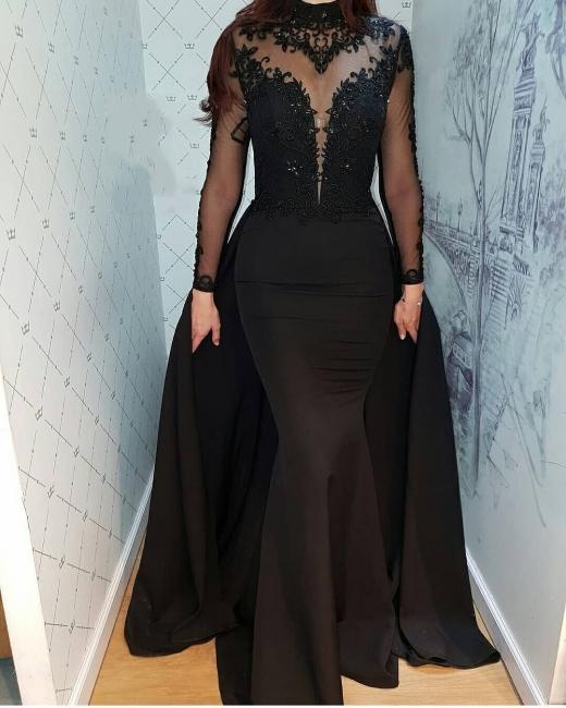 Günstige Abendkleider Lang Schwarz | Spitze Abendkleid Mit Ärmel
