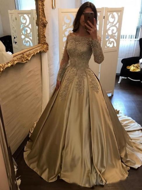 Designer Golden Brautkleider Mit Ärmel Lang Prinzessin Hochzeitskleider Günstig Online