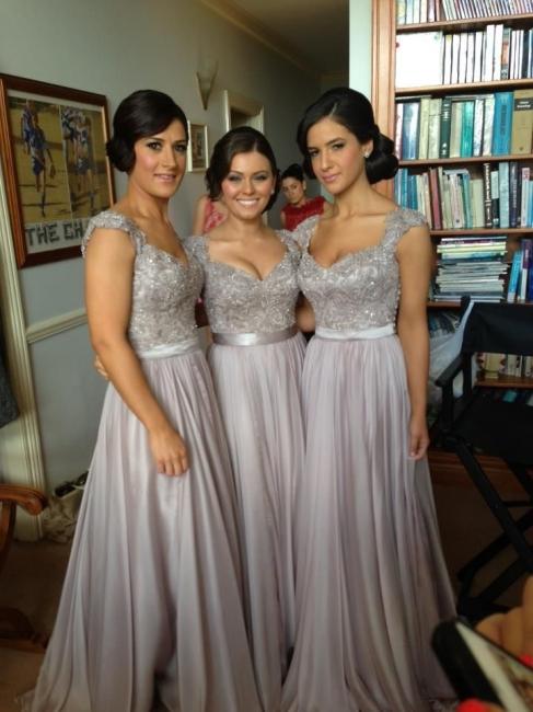 Brautjungfernkleid Chiffon | Lila Brautjungfernkleid Lang