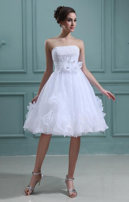Schlicht Brautkleider Kurz Weiß Mit Spitze Organza Brautmoden Hochzeitskleider