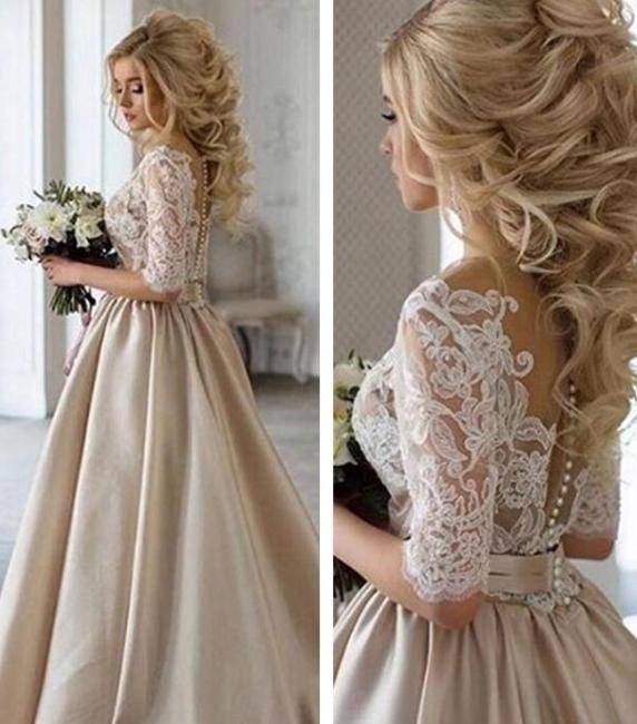 Vintage Brautkleid A Linie   Hochzeitskleider Mit Spitze Ärmel