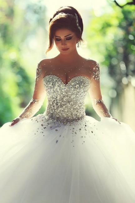 Luxus Brautkleider Prinzessin mit Ärmel | Hochzeitskleider Mit Glitzer