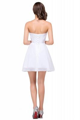 Weiße Cocktailkleider Kurz   Chiffon Kleider Abiballkleider_3