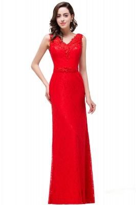 Rotes Abendkleid Lang V Ausschnitt | Schlichtes Abibalkleid_4