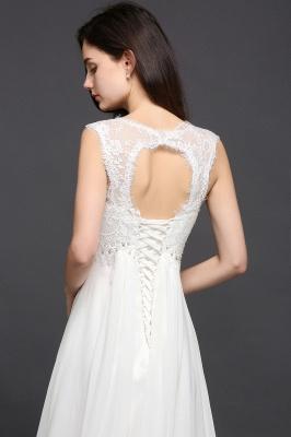 Schlichtes Abendkleid Lang Günstig | Chiffon Kleider Weiß_5