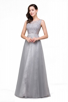 Silber Abendkleider Lang Günstig   Abiballkleider mit Spitze_2