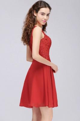 Rote Cocktailkleider | Chiffon Kleider Abendkleider Kurz_4