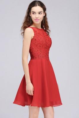 Rote Cocktailkleider | Chiffon Kleider Abendkleider Kurz_6