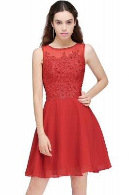 Rote Cocktailkleider | Chiffon Kleider Abendkleider Kurz_1