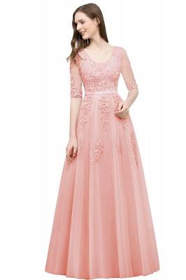 Abendkleid Lang V Ausschnitt   Abiballkleider mit Ärmel_2