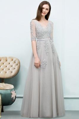 Abendkleid Lang V Ausschnitt   Abiballkleider mit Ärmel_9