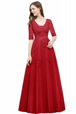 Abendkleid Lang V Ausschnitt   Abiballkleider mit Ärmel_4