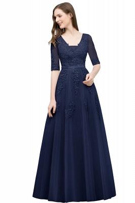 Abendkleid Lang V Ausschnitt   Abiballkleider mit Ärmel_6