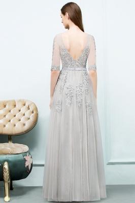 Abendkleid Lang V Ausschnitt   Abiballkleider mit Ärmel_10