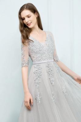 Abendkleid Lang V Ausschnitt   Abiballkleider mit Ärmel_14