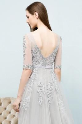 Abendkleid Lang V Ausschnitt   Abiballkleider mit Ärmel_16