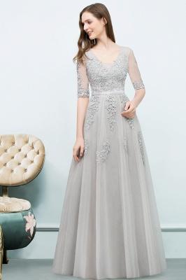 Abendkleid Lang V Ausschnitt   Abiballkleider mit Ärmel_11