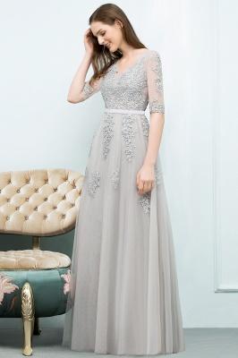 Abendkleid Lang V Ausschnitt   Abiballkleider mit Ärmel_12