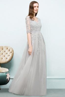 Abendkleid Lang V Ausschnitt   Abiballkleider mit Ärmel_13