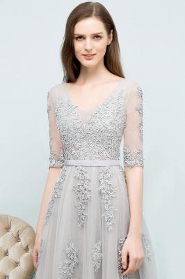 Abendkleid Lang V Ausschnitt   Abiballkleider mit Ärmel_15