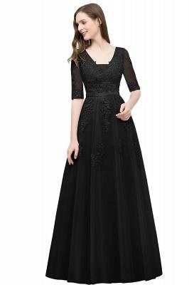 Abendkleid Lang V Ausschnitt   Abiballkleider mit Ärmel_7