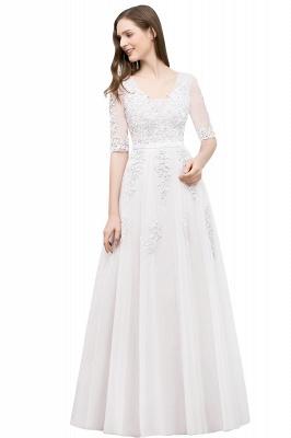 Abendkleid Lang V Ausschnitt   Abiballkleider mit Ärmel_1