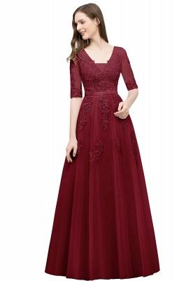 Abendkleid Lang V Ausschnitt   Abiballkleider mit Ärmel_5