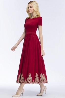 Rote Abendkleider Kurz   Cocktailkleider mit Ärmel_8