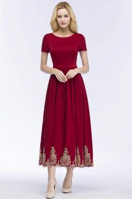 Rote Abendkleider Kurz   Cocktailkleider mit Ärmel_6