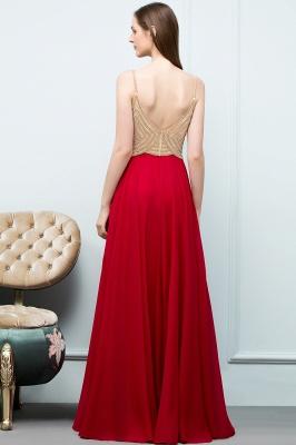 Abiballkleider Günstig Rot   Abendkleid Lang V Ausschnitt_3