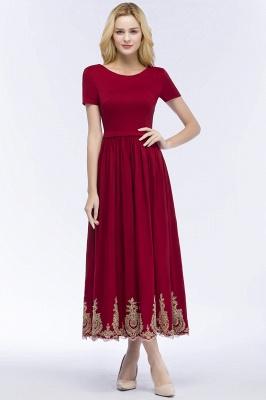 Rote Abendkleider Kurz   Cocktailkleider mit Ärmel_1