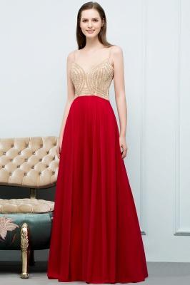 Abiballkleider Günstig Rot   Abendkleid Lang V Ausschnitt_1