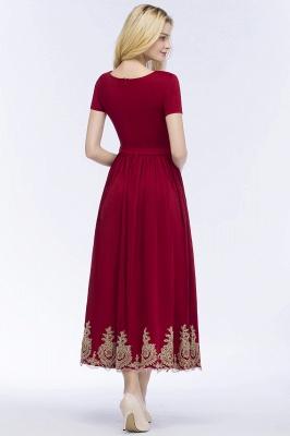 Rote Abendkleider Kurz   Cocktailkleider mit Ärmel_3