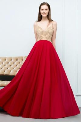 Abiballkleider Günstig Rot   Abendkleid Lang V Ausschnitt_6