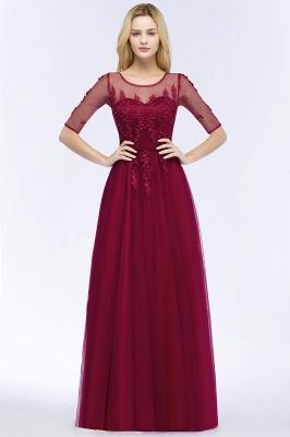Weinrote Abendkleider Lang | Günstige Abiballkleider mit Ärmel_5