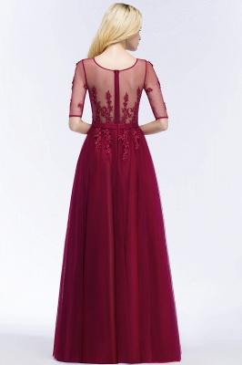 Weinrote Abendkleider Lang | Günstige Abiballkleider mit Ärmel_6